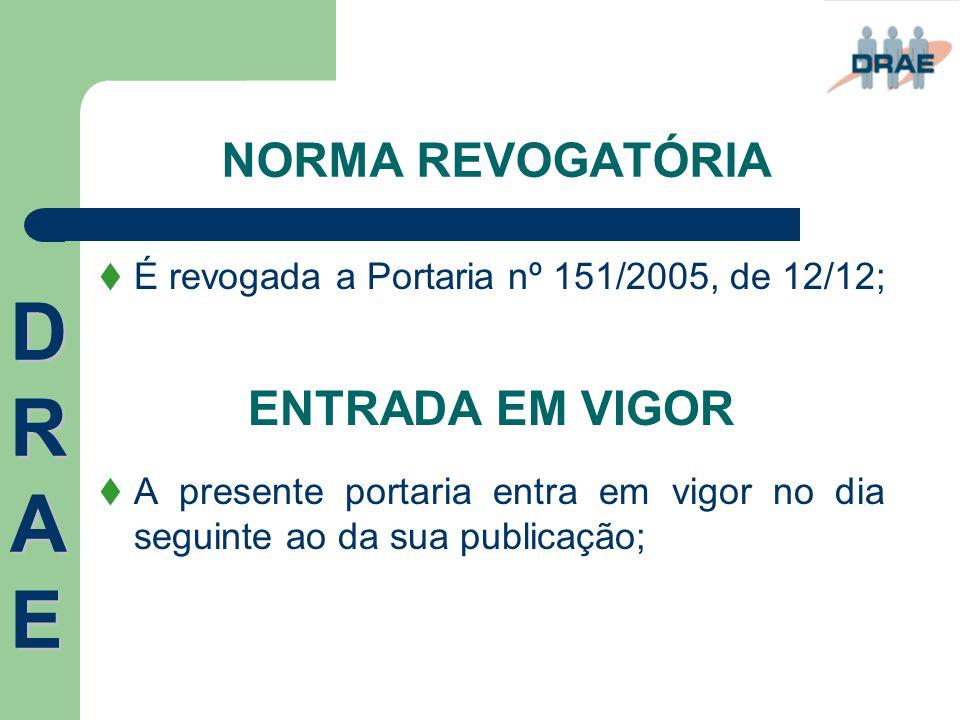 NORMA REVOGATÓRIA  É revogada a Portaria nº 151/2005, de 12/12; ENTRADA EM VIGOR  A presente portaria entra em vigor no dia seguinte ao da sua publi