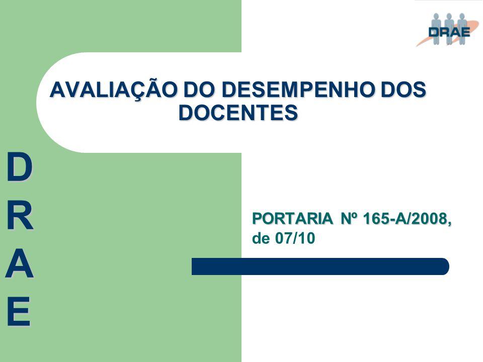 AVALIAÇÃO DO DESEMPENHO DOS DOCENTES DRAEDRAEDRAEDRAE PORTARIA Nº 165-A/2008, PORTARIA Nº 165-A/2008, de 07/10
