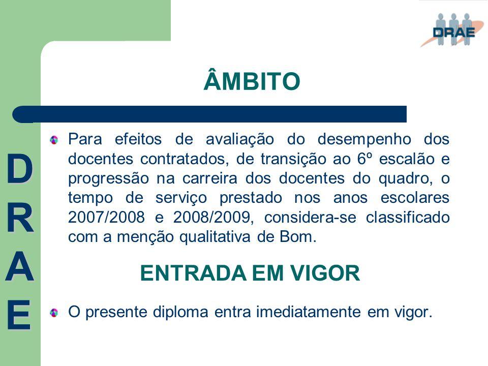 ÂMBITO Para efeitos de avaliação do desempenho dos docentes contratados, de transição ao 6º escalão e progressão na carreira dos docentes do quadro, o