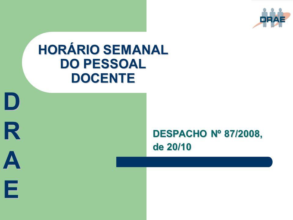 HORÁRIO SEMANAL DO PESSOAL DOCENTE DESPACHO Nº 87/2008, de 20/10 DRAEDRAEDRAEDRAE