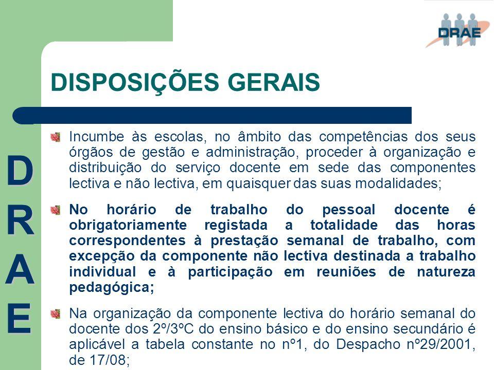 DISPOSIÇÕES GERAIS Incumbe às escolas, no âmbito das competências dos seus órgãos de gestão e administração, proceder à organização e distribuição do