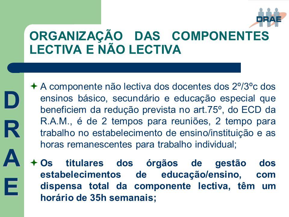 ORGANIZAÇÃO DAS COMPONENTES LECTIVA E NÃO LECTIVA  A componente não lectiva dos docentes dos 2º/3ºc dos ensinos básico, secundário e educação especia