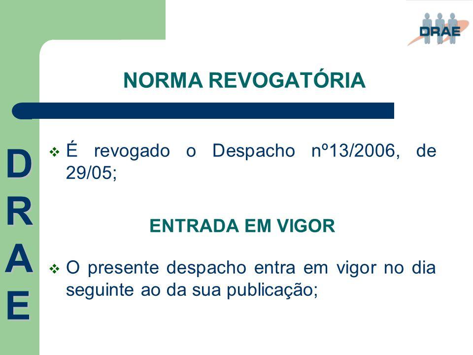 NORMA REVOGATÓRIA  É revogado o Despacho nº13/2006, de 29/05; ENTRADA EM VIGOR  O presente despacho entra em vigor no dia seguinte ao da sua publica
