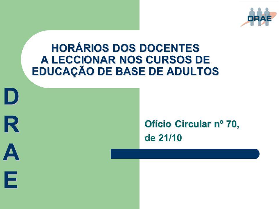 HORÁRIOS DOS DOCENTES A LECCIONAR NOS CURSOS DE EDUCAÇÃO DE BASE DE ADULTOS Ofício Circular nº 70, de 21/10 DRAEDRAEDRAEDRAE