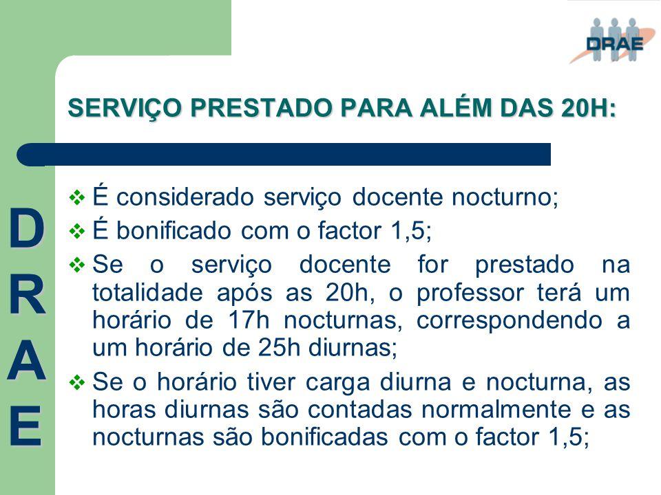 SERVIÇO PRESTADO PARA ALÉM DAS 20H:  É considerado serviço docente nocturno;  É bonificado com o factor 1,5;  Se o serviço docente for prestado na
