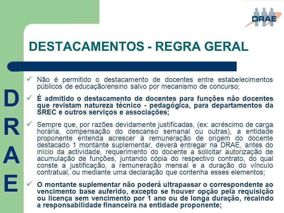 DESTACAMENTOS - REGRA GERAL  Não é permitido o destacamento de docentes entre estabelecimentos públicos de educação/ensino salvo por mecanismo de con