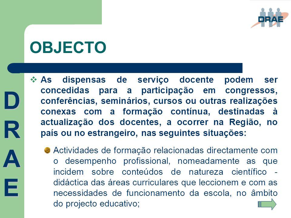 OBJECTO  As dispensas de serviço docente podem ser concedidas para a participação em congressos, conferências, seminários, cursos ou outras realizaçõ