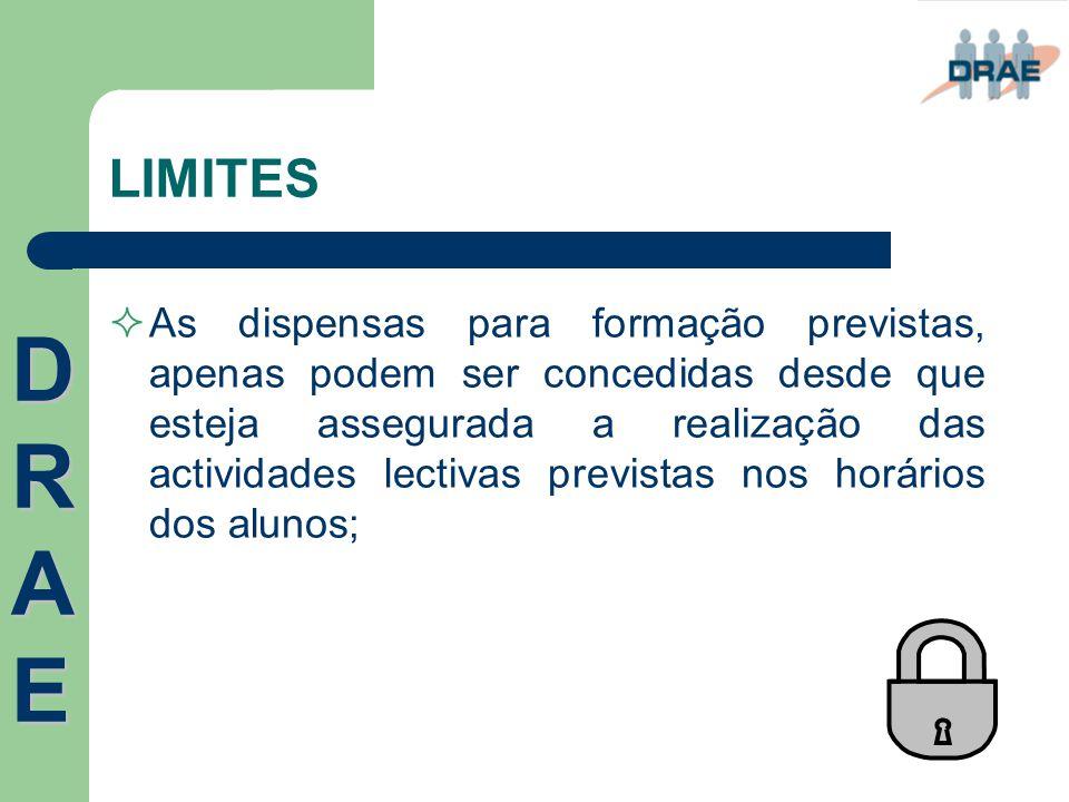 LIMITES  As dispensas para formação previstas, apenas podem ser concedidas desde que esteja assegurada a realização das actividades lectivas prevista