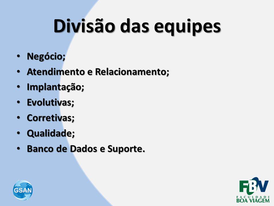 Divisão das equipes • Negócio; • Atendimento e Relacionamento; • Implantação; • Evolutivas; • Corretivas; • Qualidade; • Banco de Dados e Suporte.