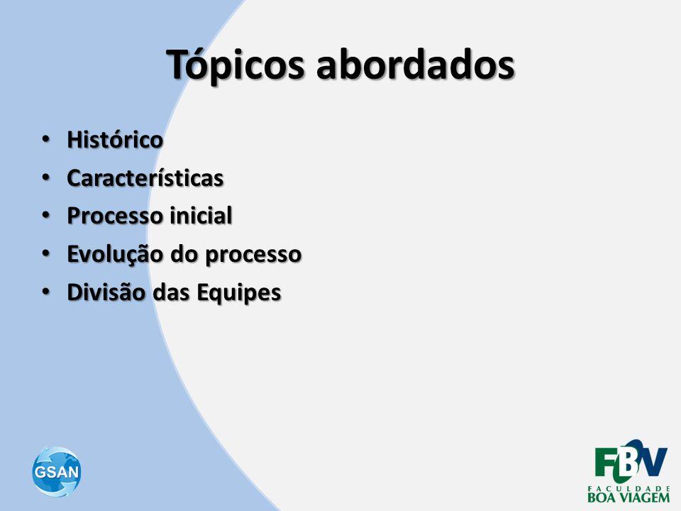 Tópicos abordados • Histórico • Características • Processo inicial • Evolução do processo • Divisão das Equipes
