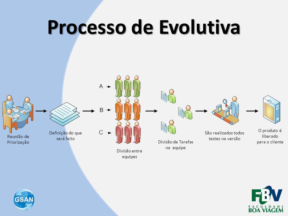 Processo de Evolutiva Reunião de Priorização Definição do que será feito Divisão entre equipes Divisão de Tarefas na equipe São realizados todos teste
