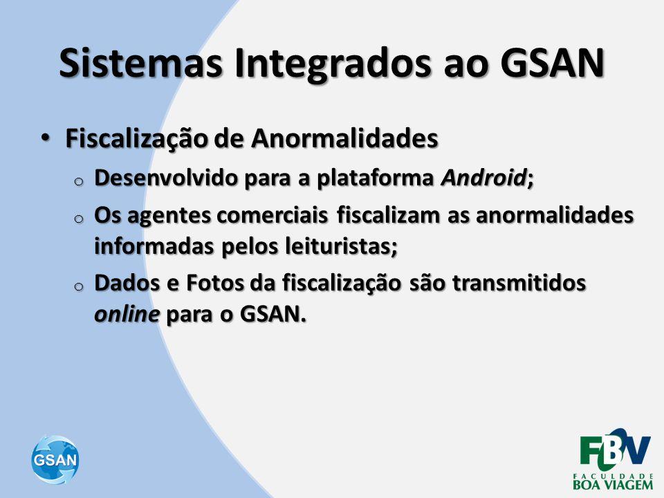 Sistemas Integrados ao GSAN • Fiscalização de Anormalidades o Desenvolvido para a plataforma Android; o Os agentes comerciais fiscalizam as anormalida