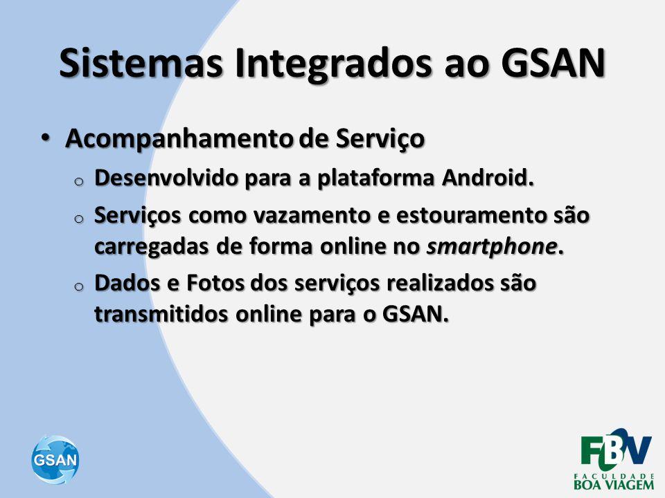 Sistemas Integrados ao GSAN • Acompanhamento de Serviço o Desenvolvido para a plataforma Android. o Serviços como vazamento e estouramento são carrega