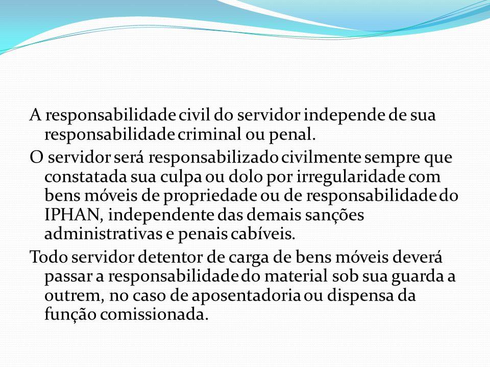 A responsabilidade civil do servidor independe de sua responsabilidade criminal ou penal. O servidor será responsabilizado civilmente sempre que const
