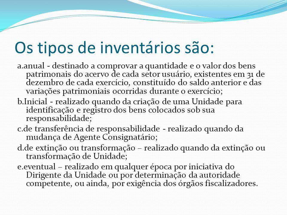Os tipos de inventários são: a.anual - destinado a comprovar a quantidade e o valor dos bens patrimonais do acervo de cada setor usuário, existentes e