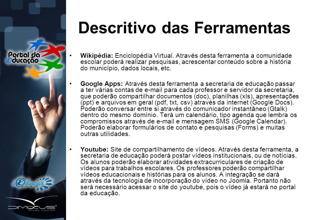 Descritivo das Ferramentas •Wikipédia: Enciclopédia Virtual.