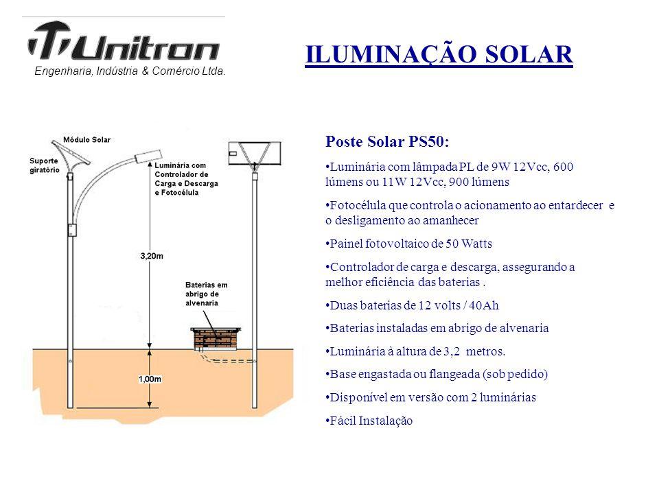 Engenharia, Indústria & Comércio Ltda. ILUMINAÇÃO SOLAR Poste Solar PS50: •Luminária com lâmpada PL de 9W 12Vcc, 600 lúmens ou 11W 12Vcc, 900 lúmens •