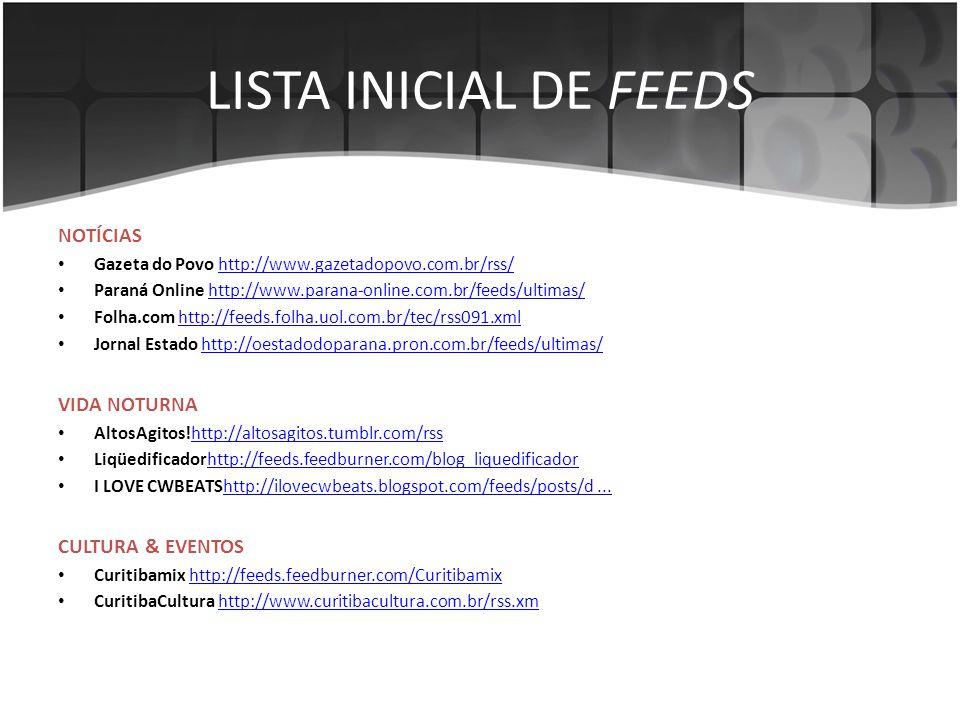 LISTA INICIAL DE FEEDS NOTÍCIAS • Gazeta do Povo http://www.gazetadopovo.com.br/rss/http://www.gazetadopovo.com.br/rss/ • Paraná Online http://www.par