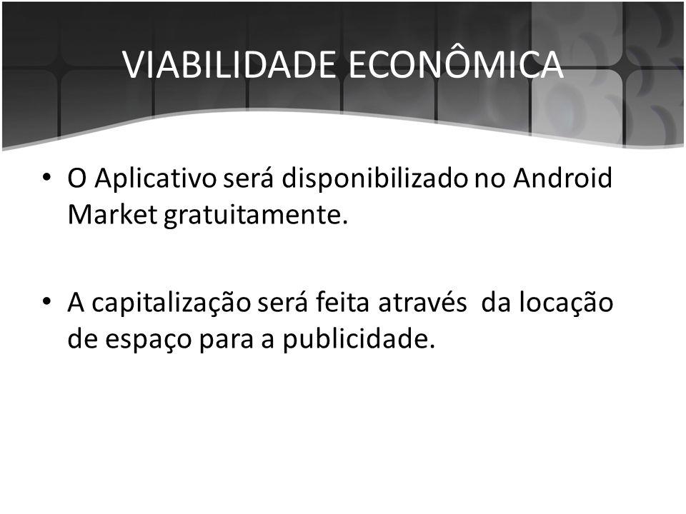 VIABILIDADE ECONÔMICA • O Aplicativo será disponibilizado no Android Market gratuitamente. • A capitalização será feita através da locação de espaço p