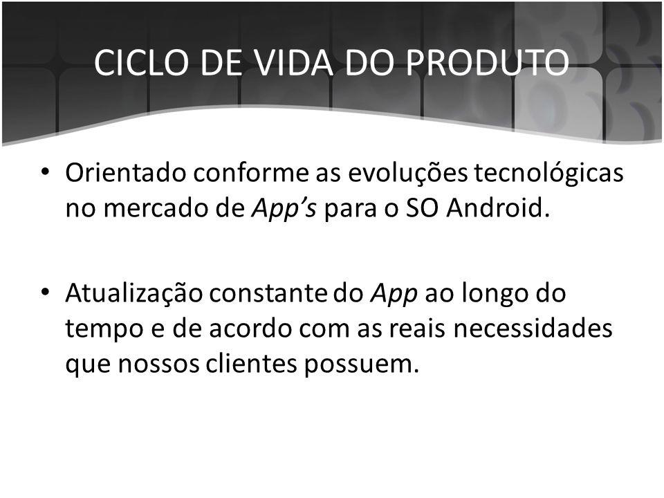 • Orientado conforme as evoluções tecnológicas no mercado de App's para o SO Android. • Atualização constante do App ao longo do tempo e de acordo com