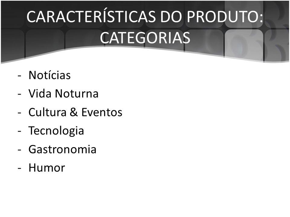 CARACTERÍSTICAS DO PRODUTO: CATEGORIAS -Notícias -Vida Noturna -Cultura & Eventos -Tecnologia -Gastronomia -Humor