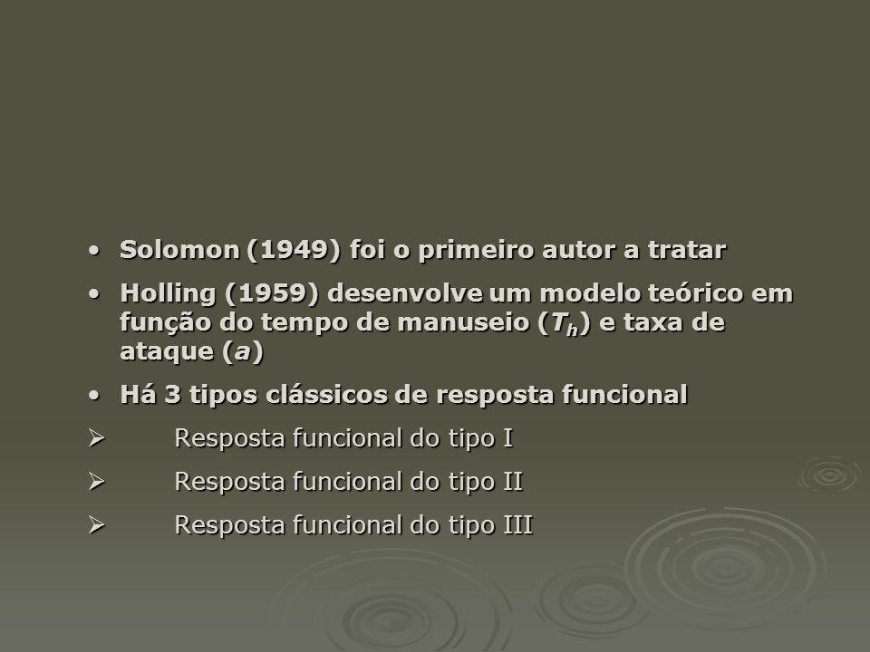 •Solomon (1949) foi o primeiro autor a tratar •Holling (1959) desenvolve um modelo teórico em função do tempo de manuseio (T h ) e taxa de ataque (a)