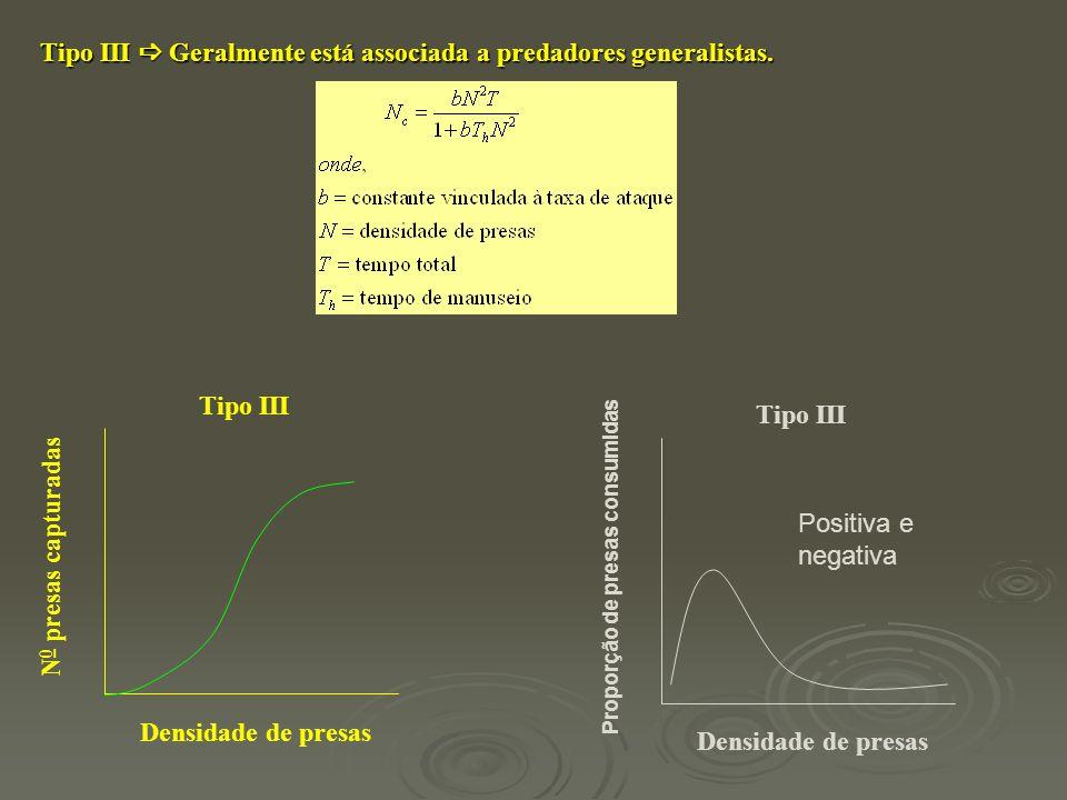 Tipo III  Geralmente está associada a predadores generalistas. Tipo III Densidade de presas N 0 presas capturadas Tipo III Densidade de presas Propor