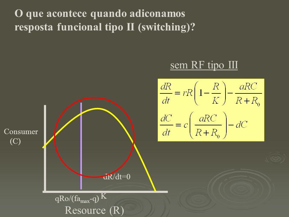 sem RF tipo III Resource (R) Consumer (C) dR/dt=0 K qRo/(fa max -q) O que acontece quando adiconamos resposta funcional tipo II (switching)?