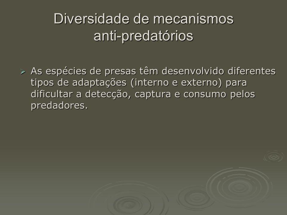 Diversidade de mecanismos anti-predatórios  As espécies de presas têm desenvolvido diferentes tipos de adaptações (interno e externo) para dificultar