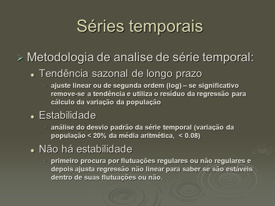 Séries temporais Séries temporais  Metodologia de analise de série temporal:  Tendência sazonal de longo prazo •ajuste linear ou de segunda ordem (l