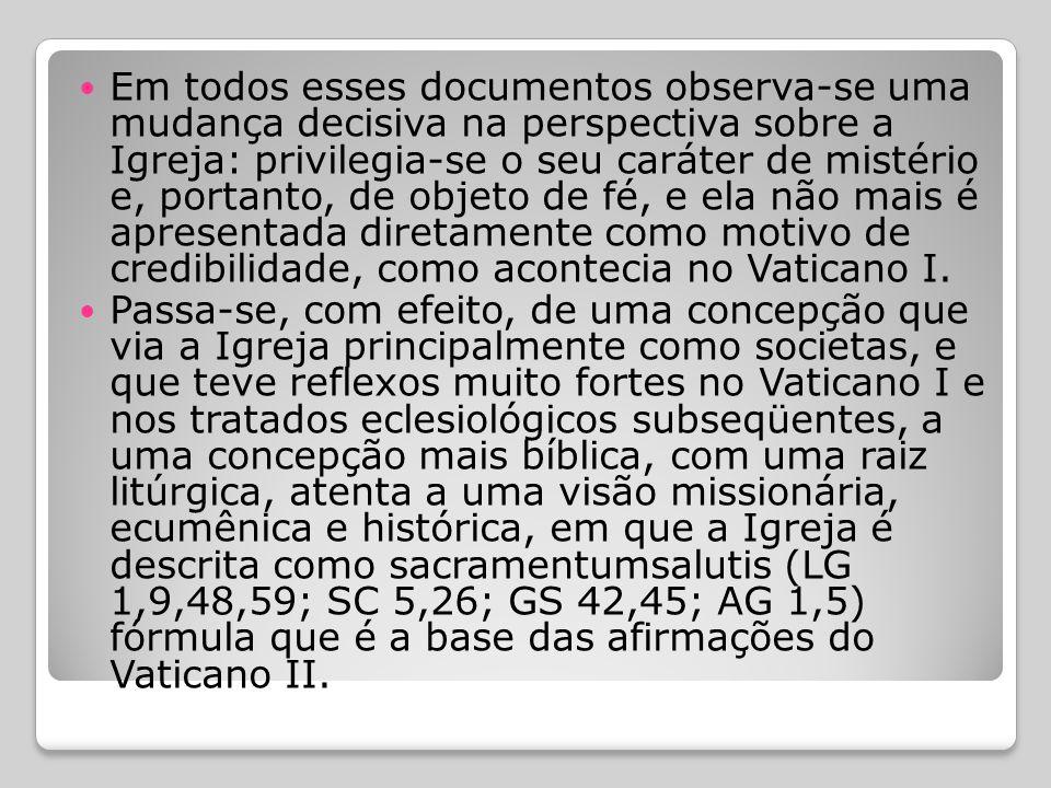  Além disso, encontram-se muitos elementos de eclesiologia em outros documentos conciliares, como as outras três constituições: sobre a liturgia (Sac