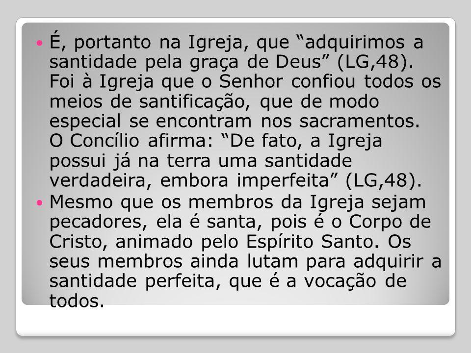 """ Igreja Santa  O santo Concílio Vaticano II disse que:  """"Igreja... é, aos olhos da fé, indefectivelmente santa. Pois Cristo, Filho de Deus, que com"""