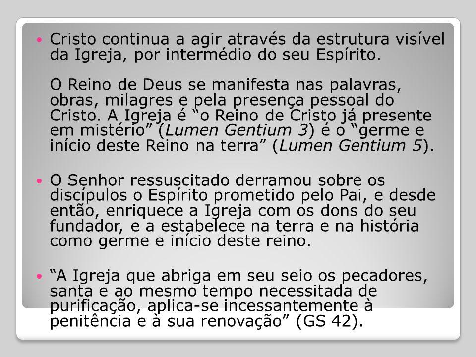  IGREJA COMO SACRAMENTO:  É uma realidade divina portadora de salvação, que se revela de modo visível, encarnada na história.  Cristo é a luz dos p