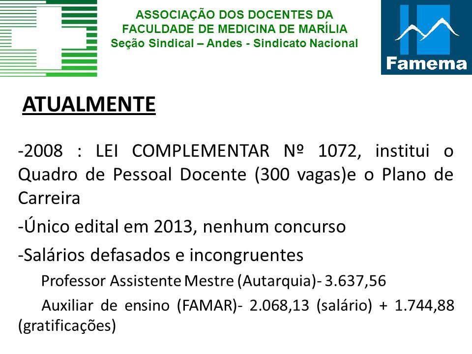 ATUALMENTE -2008 : LEI COMPLEMENTAR Nº 1072, institui o Quadro de Pessoal Docente (300 vagas)e o Plano de Carreira -Único edital em 2013, nenhum concu