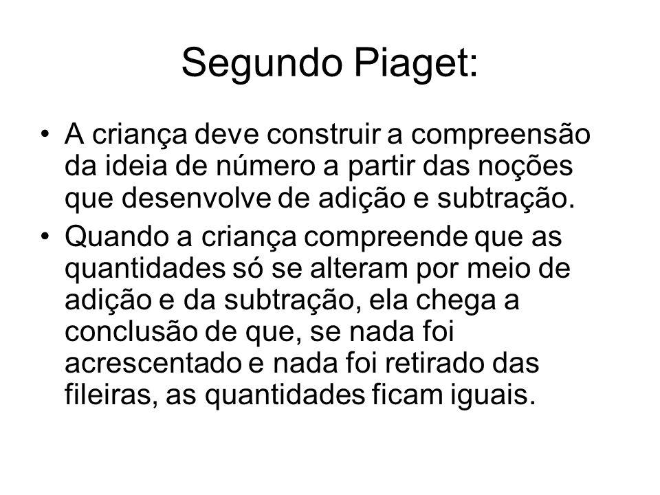 Segundo Piaget: •A criança deve construir a compreensão da ideia de número a partir das noções que desenvolve de adição e subtração.