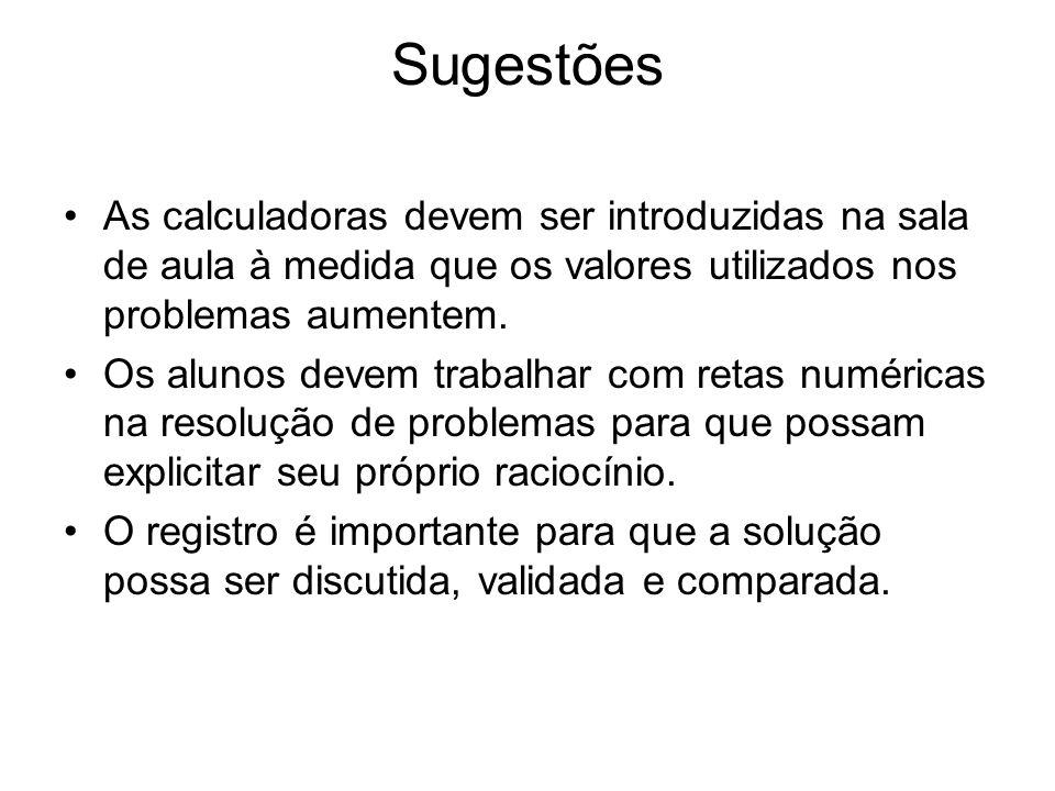 Sugestões •As calculadoras devem ser introduzidas na sala de aula à medida que os valores utilizados nos problemas aumentem.