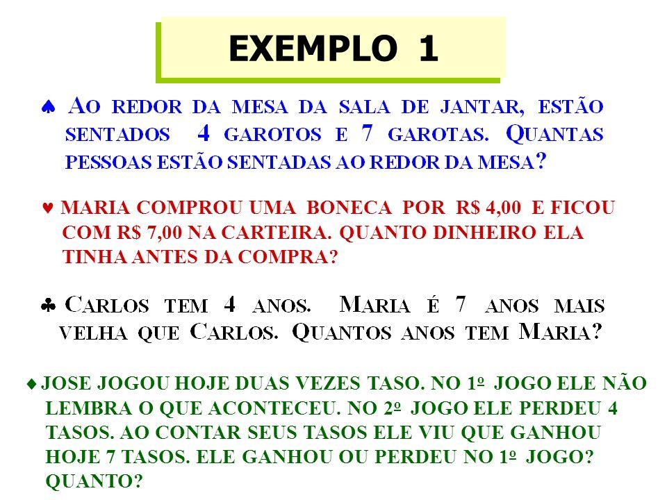 EXEMPLO 1  MARIA COMPROU UMA BONECA POR R$ 4,00 E FICOU COM R$ 7,00 NA CARTEIRA.