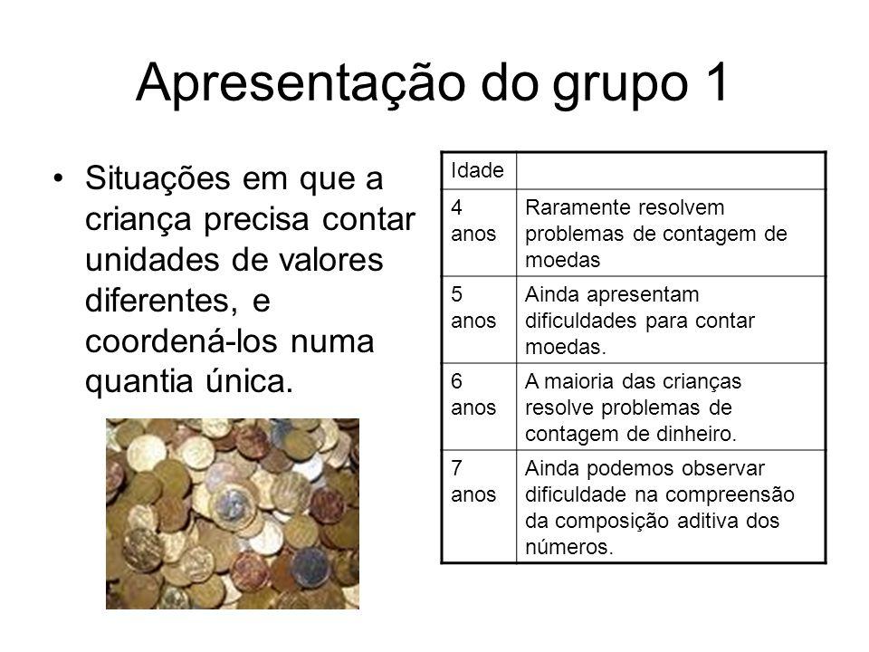 Apresentação do grupo 1 •Situações em que a criança precisa contar unidades de valores diferentes, e coordená-los numa quantia única.
