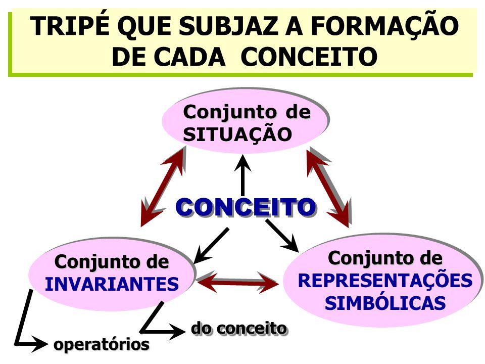 TRIPÉ QUE SUBJAZ A FORMAÇÃO DE CADA CONCEITO Conjunto de INVARIANTES Conjunto de SITUAÇÃO CONCEITO Conjunto de REPRESENTAÇÕES SIMBÓLICAS operatórios do conceito