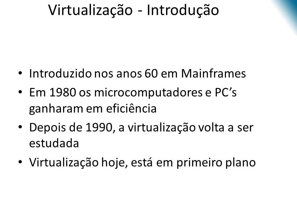 Virtualização - Introdução • Introduzido nos anos 60 em Mainframes • Em 1980 os microcomputadores e PC's ganharam em eficiência • Depois de 1990, a vi
