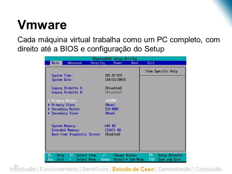 20 Virtualização – Estudo de Caso Introdução | Funcionamento | Benefícios | Estudo de Caso | Demostração | Conclusão •Vmware •Cada máquina virtual tra