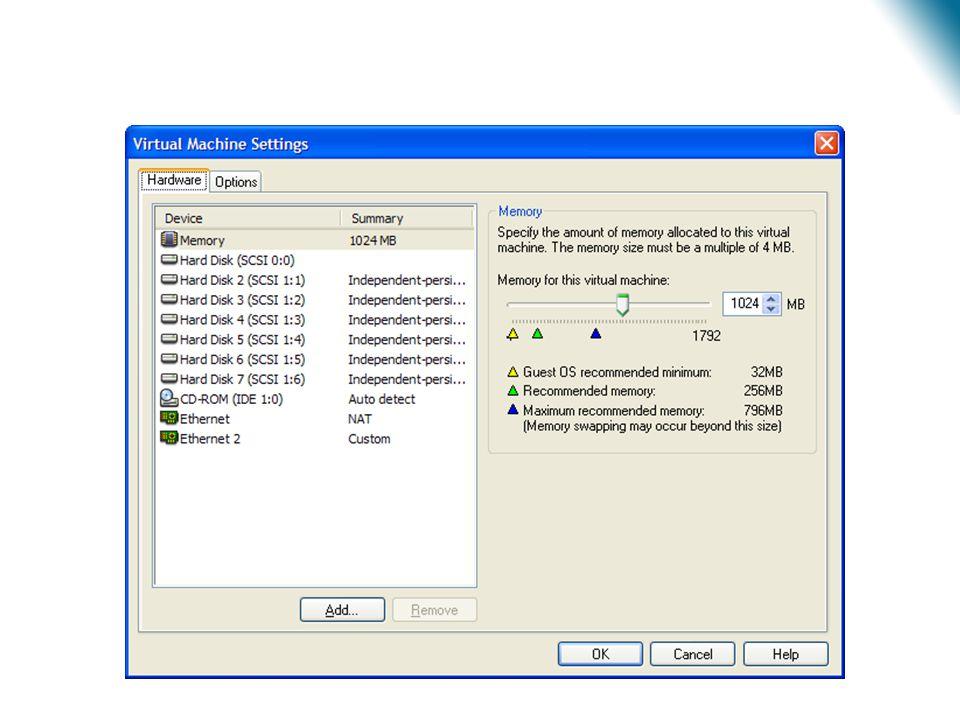 Virtualização – Estudo de Caso •Cada máquina virtual possui uma área reservada de memória.