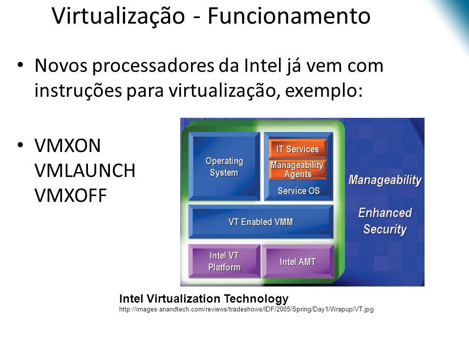 Virtualização - Funcionamento • Novos processadores da Intel já vem com instruções para virtualização, exemplo: • VMXON VMLAUNCH VMXOFF Intel Virtuali