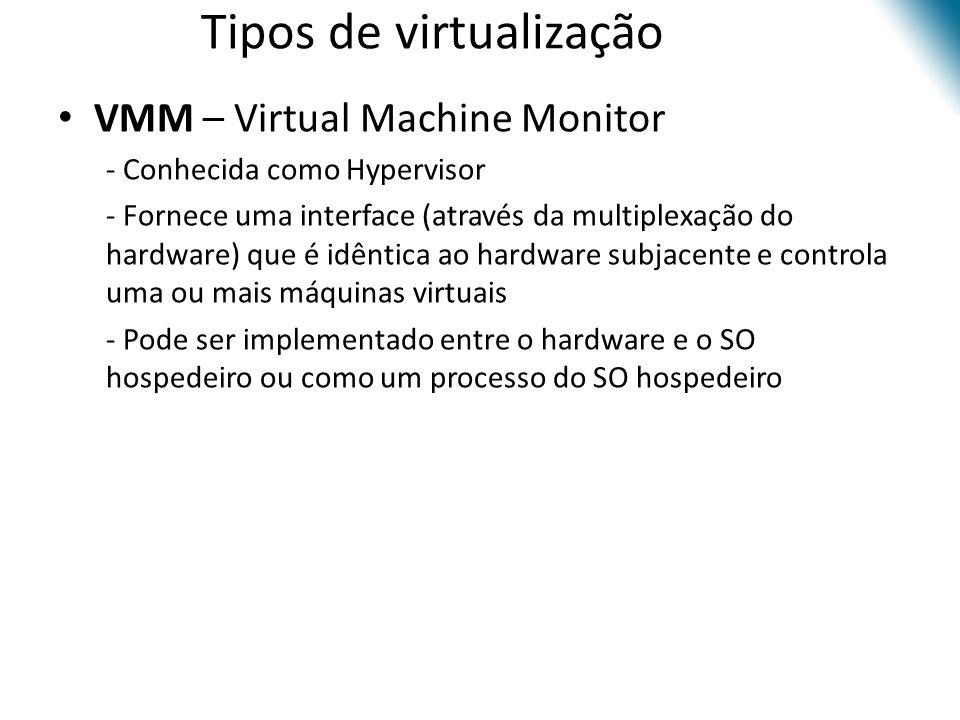 Tipos de virtualização • VMM – Virtual Machine Monitor • - Conhecida como Hypervisor • - Fornece uma interface (através da multiplexação do hardware)