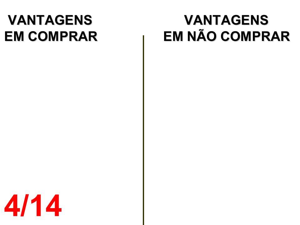 VANTAGENS VANTAGENS EM COMPRAR EM NÃO COMPRAR VANTAGENS VANTAGENS EM COMPRAR EM NÃO COMPRAR 4/14