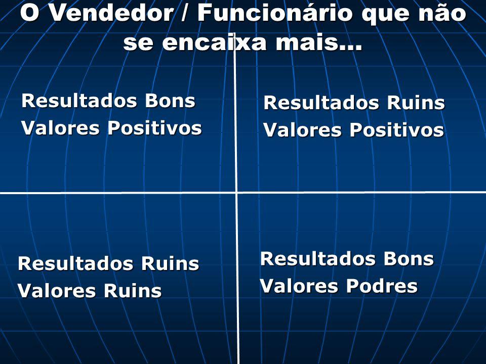 Resultados Bons Valores Positivos Resultados Bons Valores Podres Resultados Ruins Valores Ruins Resultados Ruins Valores Positivos O Vendedor / Funcio