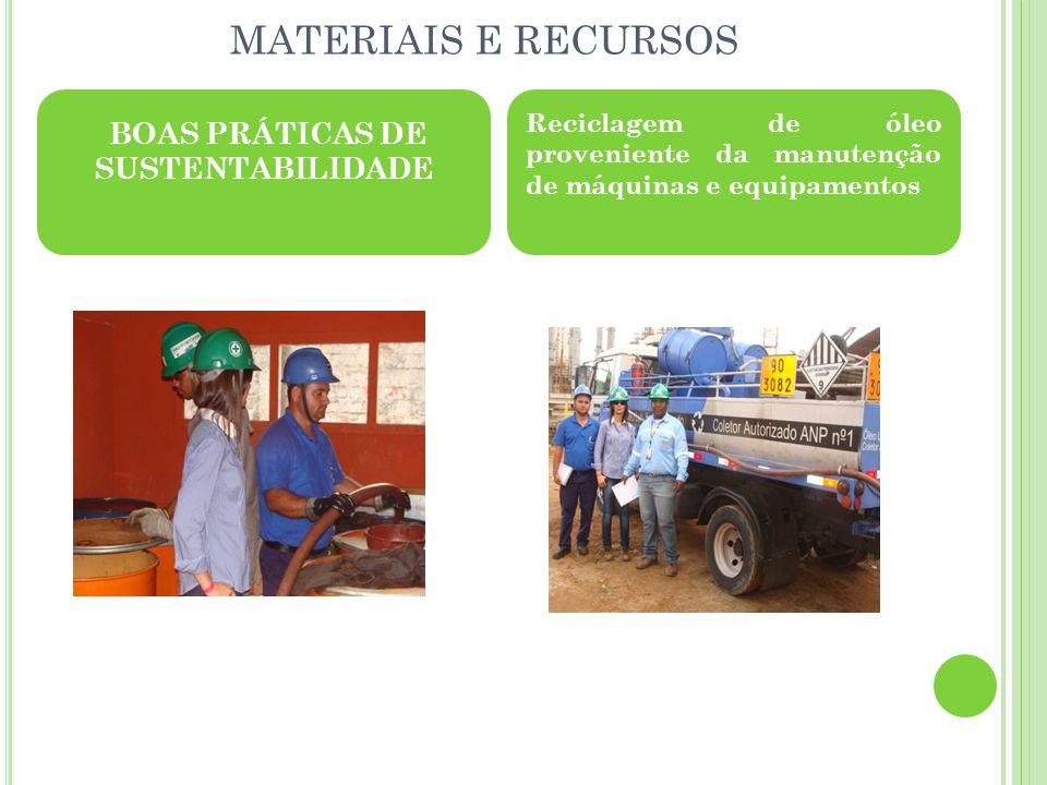 MATERIAIS E RECURSOS BOAS PRÁTICAS DE SUSTENTABILIDADE Reciclagem de óleo proveniente da manutenção de máquinas e equipamentos