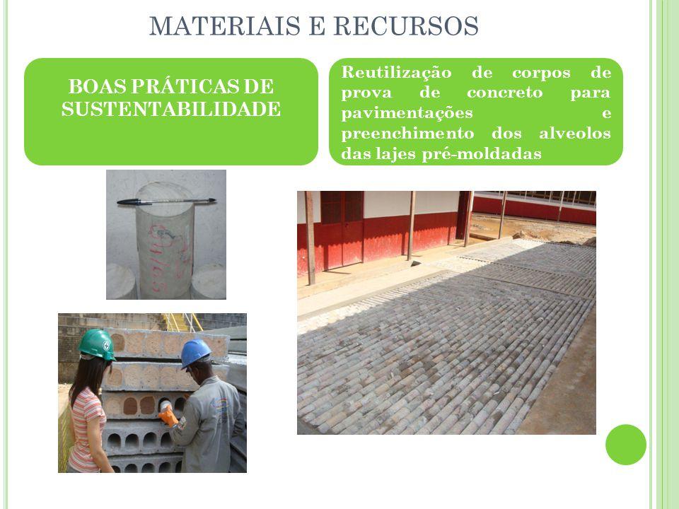 MATERIAIS E RECURSOS BOAS PRÁTICAS DE SUSTENTABILIDADE Reutilização de corpos de prova de concreto para pavimentações e preenchimento dos alveolos das lajes pré-moldadas
