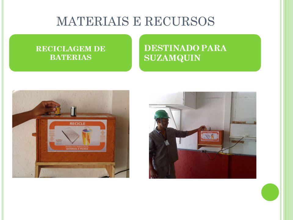 MATERIAIS E RECURSOS RECICLAGEM DE BATERIAS DESTINADO PARA SUZAMQUIN