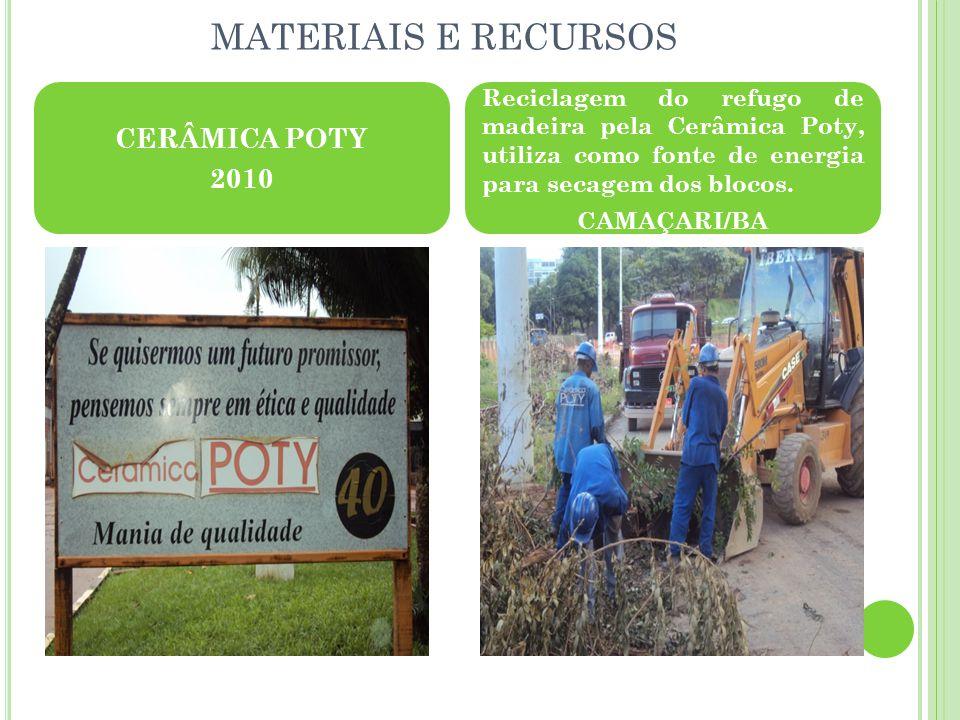 MATERIAIS E RECURSOS CERÂMICA POTY 2010 Reciclagem do refugo de madeira pela Cerâmica Poty, utiliza como fonte de energia para secagem dos blocos.
